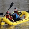 AIMEE AMBROSE | THE GOSHEN NEWS<br /> Goshen firefighters rescued a kayaker who became stranded on his kayak in a flooded area of Rogers Park Thursday. The operation to row to the male, help him into the boat, and row him back to shore took about 45 seconds.