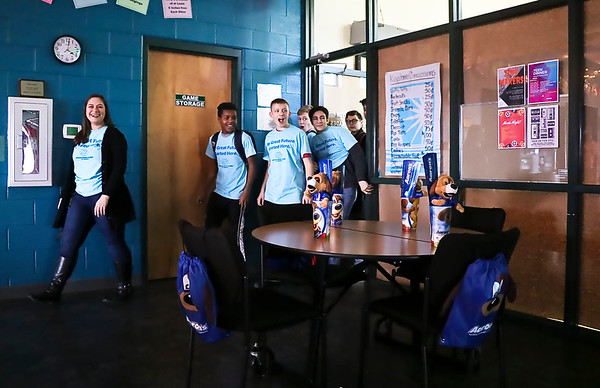 LEANDRA BEABOUT | THE GOSHEN NEWS<br /> Teen Services supervisor Rhonda Eicher leads the Middlebury Boys & Girls Club members into their new teen room.