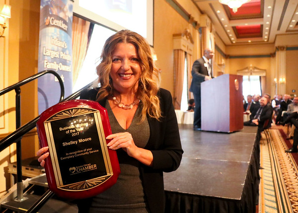 LEANDRA BEABOUT | THE GOSHEN NEWS<br /> Shelley Moore was named the 2017 Business Woman of the Year by the Elkhart Chamber of Commerce at the annual meeting Friday.