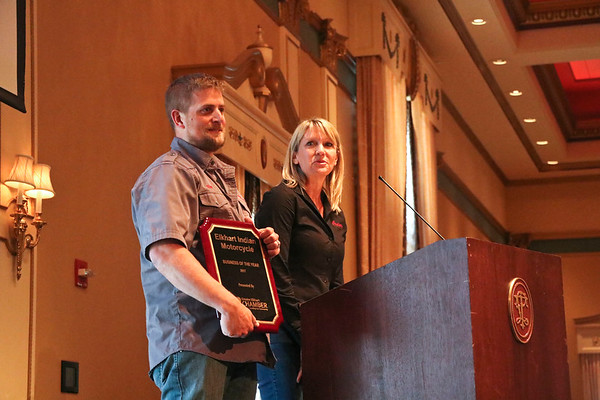 LEANDRA BEABOUT | THE GOSHEN NEWS<br /> Elkhart Indian Motorcycle was named the 2017 Business of the Year by the Elkhart Chamber of Commerce at the annual meeting Friday. Pictured are owners Chris and Ann Schelle.