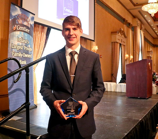 LEANDRA BEABOUT | THE GOSHEN NEWS<br /> Sam Anderson was given the 2017 Young Entrepreneurs Acadamy recognition award by the Elkhart Chamber of Commerce at the annual meeting Friday.