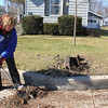 Roger Schneider | The Goshen News<br /> Amy Randall works Monday to remove debris left in front of her neighbor's house along Denver Avenue in Goshen. Randall and her husband Darrel said their basement was flooded and they lost a lot of personal items, their furnace and a water heater.