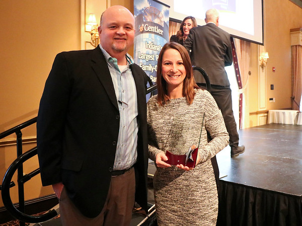 LEANDRA BEABOUT | THE GOSHEN NEWS<br /> Big Brothers, Big Sisters of Elkhart County was named the 2017 Not-for-Profit of the Year by the Elkhart Chamber of Commerce at the annual meeting Friday. Pictured are Doug Reese and Vanessa Nelson.