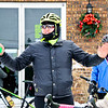 LEANDRA BEABOUT | THE GOSHEN NEWS<br /> Jacob Jones of Lincoln Avenue Cycling joked to the group of riders that the signal for help was to fall of the bike and do a snow angel.