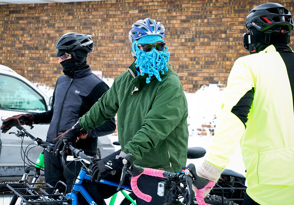 LEANDRA BEABOUT | THE GOSHEN NEWS<br /> Cyclists bundled up for the freezings temps of the 2018 Ice Cycle 15-mile ride.