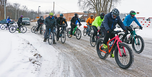 LEANDRA BEABOUT | THE GOSHEN NEWS<br /> Cyclists being the 15-mile trek to complete the third annual Ice Cycle.