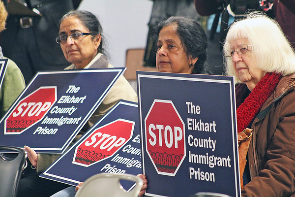 Roger Schneider | The Goshen News<br /> Kalpana Ghadiali, Elkhart, at left, sits with others at a press conference Tuesday where opponents of a proposed immigrant detention center spoke to the media.