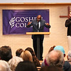 "LEANDRA BEABOUT | THE GOSHEN NEWS <br /> Speaker Leonard Dow delivered his ""Strength to Love"" lecture to the crowd at College Mennonite Church as a part of the college's Martin Luther King Jr. Day celebration."