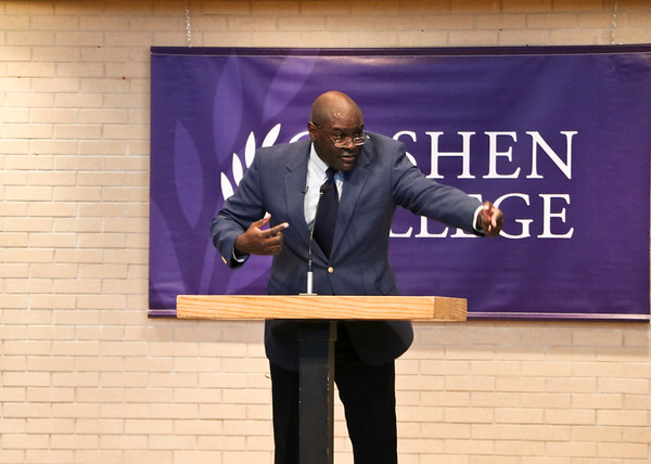 "LEANDRA BEABOUT | THE GOSHEN NEWS<br /> Leonard Dow gave his presentation, ""Strength to Love,"" at the Goshen College convocation for Martin Luther King Jr. Day."