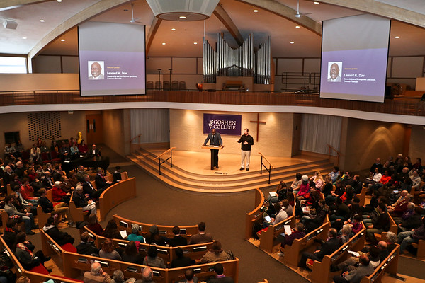 """LEANDRA BEABOUT   THE GOSHEN NEWS <br /> Speaker Leonard Dow delivered his """"Strength to Love"""" lecture to the crowd at College Mennonite Church as a part of the college's Martin Luther King Jr. Day celebration."""
