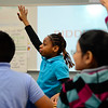 BEN MIKESELL | THE GOSHEN NEWS<br /> West Goshen Elementary fourth-grader Jasmine Henderson waits to answer a question during Northern Indiana Hispanic Health Coalition's Healthy Hearts program Wednesday at West Goshen.