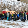 LEANDRA BEABOUT | THE GOSHEN NEWS<br /> Local Boy Scouts troops stand at attention as they wait for instructions before beginning the 2018 Klondike Derby.