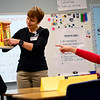 BEN MIKESELL | THE GOSHEN NEWS<br /> Barbara Welty with the Elkhart County Health Department shows off a model of clogged arteries to Jennifer Camacho's fourth-grade class Wednesday at West Goshen Elementary School, as part of the Northern Indiana Hispanic Health Coalition's Healthy Hearts program.
