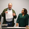 LEANDRA BEABOUT | THE GOSHEN NEWS<br /> Elkhart City councilman Dwight Fish and Justice Without Borders member Patty Gorostieta present their letter to Elkhart mayor Tim Neese, which requests an executive order to implement an Elkhart identification card program.