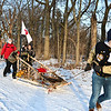 LEANDRA BEABOUT | THE GOSHEN NEWS<br /> Glen Tharp pulls the sled for Troop 12 during the 2018 Klondike Derby.