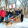 LEANDRA BEABOUT | THE GOSHEN NEWS<br /> A patrol of Boy Scouts from Troop 12 out of New Paris stand with their sled before the 2018 Klondike Derby.