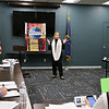 "LEANDRA BEABOUT | THE GOSHEN NEWS<br /> Marcia Hamood delivers her contest speech, ""Come on Down,"" to the Maple City Toastmasters Club."