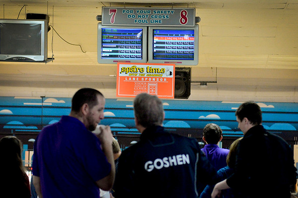 BEN MIKESELL | THE GOSHEN NEWS<br /> 18 groups from businesses around Goshen convened for the 10th annual Spare Time with the Chamber bowling event Thursday at Maple City Bowl.