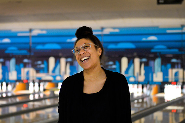 BEN MIKESELL | THE GOSHEN NEWS<br /> After missing a spare, Dominique Chew with the Center for Healing and Hope turns around and laughs with her coworkers during the 10th annual Spare Time with the Chamber bowling event Thursday at Maple City Bowl.