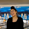 BEN MIKESELL   THE GOSHEN NEWS<br /> After missing a spare, Dominique Chew with the Center for Healing and Hope turns around and laughs with her coworkers during the 10th annual Spare Time with the Chamber bowling event Thursday at Maple City Bowl.