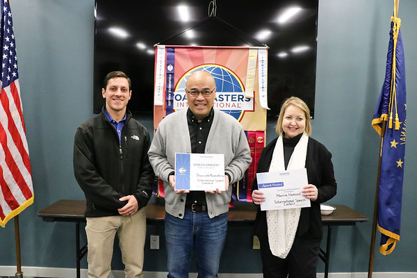 LEANDRA BEABOUT | THE GOSHEN NEWS<br /> At the end of Tuesday's Toastmasters meeting, competitors received certificates for participating in the International Speech Contest. From left: Maple City Toastmasters Club president Peter Soldato, Thavisith Mounsitharaj and Marcia Hamood.
