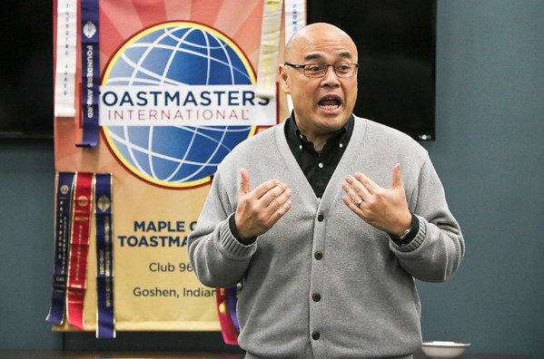 "LEANDRA BEABOUT | THE GOSHEN NEWS<br /> Thavisith Mounsithiraj delivers his contest speech, ""The Law of Sensitive Dependence Upon Initial Condition,"" to the Maple City Toastmasters Club."