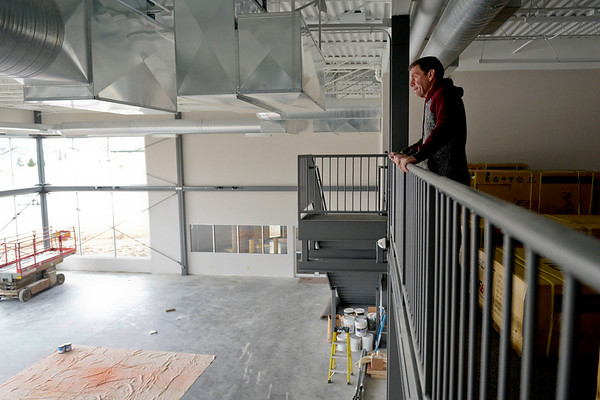 "BEN MIKESELL | THE GOSHEN NEWS<br /> Pastor Jim Brown looks over the empty space that will soon be ""The Park"" on Wednesday at Grace Community Church. The indoor playground is expected to open in March, and will be open to the public."