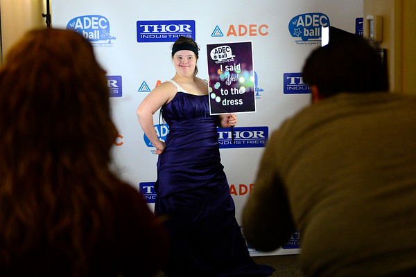 BEN MIKESELL | THE GOSHEN NEWS<br /> Faith Nickel from Elkhart poses for photos after picking out her dress for the ADEC Ball on Saturday at ADEC Inc. in Bristol.