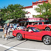 LEANDRA BEABOUT | THE GOSHEN NEWS<br /> Cruising in the summer sunshine caused some cars, such as this Corvette, to overheat during the 10th annual Crusin' Reunion.