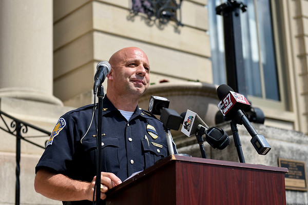 BEN MIKESELL | THE GOSHEN NEWS<br /> José D. Miller speaks at the podium after being named Goshen's new police chief Tuesday afternoon outside Goshen City Hall.
