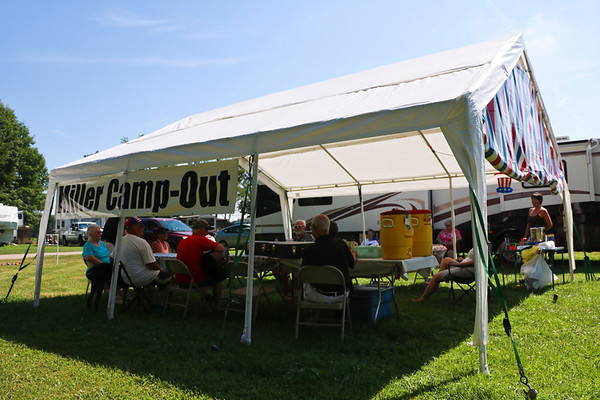 LEANDRA BEABOUT | THE GOSHEN NEWS<br /> The Miller family, who live scattered across the country, convene each year for a July 4 family reunion. This year they set up camp at Pla-More Campground in Bremen.