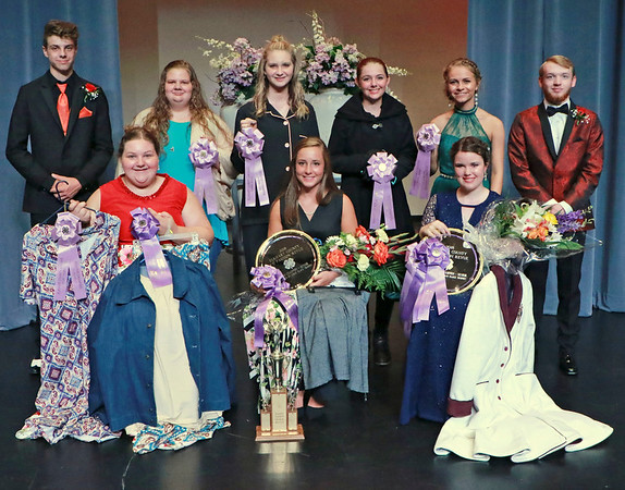 PHOTO CONTRIBUTED<br /> <br /> Senior Division participants in the 2018 Elkhart County 4-H Fashion Revue gather following the July 13 event at NorthWood High School. In the front row, from left, are Rebekah Claar, Drea Lockwood and Samantha Markham. In the back row, from left, are Nick Taylor (usher), Hadassah Claar, Maddie Kuhn, Emily Tinervia, Grace Anderson and Ryan Diamond (usher).