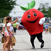 BEN MIKESELL | THE GOSHEN NEWS<br /> Adam Apple, the Nappanee Apple Festival mascot, greets children during the 2018 4-H Fair Parade Sunday in downtown Goshen.