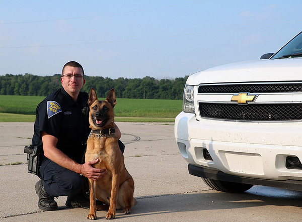 TERRAH HARMON | THE GOSHEN NEWS<br /> Jake (right) is a Belgian Malinois. K-9 officers are typically two years old when they meet their human partner. Photo taken Thursday June 28, 2018.