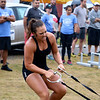 LIZ RIETH | THE GOSHEN NEWS Courtney Gorve, Elkhart, pulls weights for the yolk and sled drag event in the Elkhart County 4-H Fair Strongman Competition Saturday.