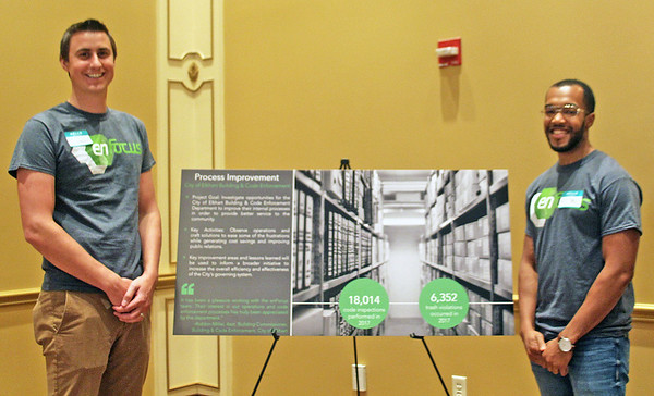 TERRAH HARMON | THE GOSHEN NEWS<br /> Michael Shoemaker, left, and Aaron Vernon presented their project with the Elkhart Code Department on Thursday, July 12.