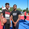 LEANDRA BEABOUT | THE GOSHEN NEWS<br /> Dayqwaun Davis, 14, and Andy Richman, 16, both of South Bend, attended the Gus Macker tournament in Elkhart because they love basketball. Davis plays basketball at John Adams High School. Richman plays at Clay High School.