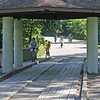 Roger Schneider | The Goshen News<br /> Tyler Daniels, 15, Goshen, leads a group of youth on bicycles to the Ox Bow County Park covered bridge Monday. The group took part in the Epic Explorers program and toured the park on the bicycle and stopped occassionally to make observations of the plants and animals in the park.