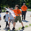 BEN MIKESELL | THE GOSHEN NEWS<br /> A group of scouts make their way to a station during Cub Scout Day Camp Thursday at Ox Bow Park. Scouts spent the week learning different survival skills across 16 stations.