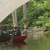 AIMEE AMBROSE | THE GOSHEN NEWS<br /> Water rescue teams respond to a call about a body in the Elkhart River Thursday night.