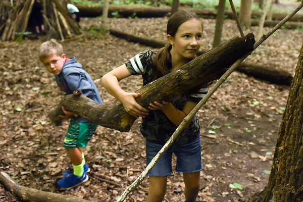 BEN MIKESELL | THE GOSHEN NEWS<br /> Junior naturalist Alayna Suddarth, 11, of Shipshewana, right, carries a tree branch with Keller Wesdorp, 8, of Elkhart while making a shelter during Nature Explorer Day Camp Tuesday morning at Ox Bow Park.