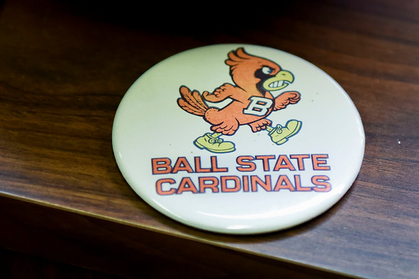 BEN MIKESELL | THE GOSHEN NEWS<br /> Bob Woods has Ball State decorations throughout his office at Elkhart Memorial High School, where he is the director of business operations.