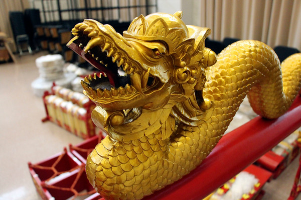 LIZ RIETH | THE GOSHEN NEWS The gamelan donated to Goshen College is covered intricate details.