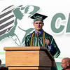 SHEILA SELMAN | THE GOSHEN NEWS<br /> Jared Kohn speaks to his fellow Concord graduates during commencement at Jake Field Thursday night.