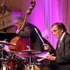 GEOFF LESAR | THE GOSHEN NEWS<br /> <br /> Bassist Darrel Tidaback and drummer Jim Catalano perform during the 2018 Elkhart Jazz Festival preview party Monday afternoon in the Crystal Ballroom at The Lerner Theatre in Elkhart.
