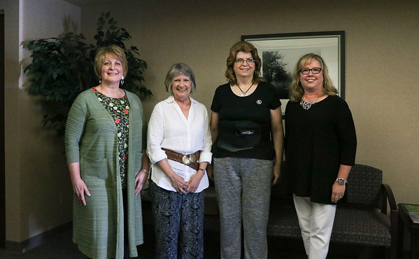 LEANDRA BEABOUT | THE GOSHEN NEWS<br /> These four Middlebury Community Schools retirees were recognized at the June 5 board meeting. From left: Lucy Dickey, Cathy Morgan, Jane Oyer and Catherine Yoder.