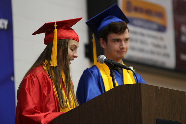 SHEILA SELMAN | THE GOSHEN NEWS<br /> Co-valedictorians Shelby Miller, left, and Marcus Weimer address fellow graduates at West Noble's commencement Sunday afternoon.