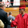 Geoff Lesar | The Goshen News<br /> NorthWood High School graduate Jemima Robinson strides across the stage during the school's 2018 commencement ceremony Friday evening in Nappanee.