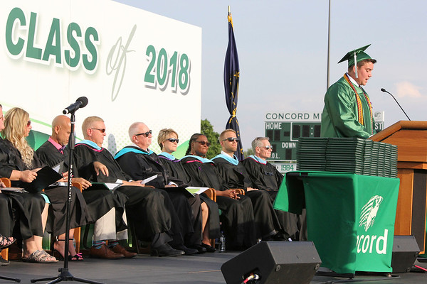 SHEILA SELMAN | THE GOSHEN NEWS<br /> Will Boyer welcomes everyone to Concord High School commencement ceremony Thursday night at Jake Field.