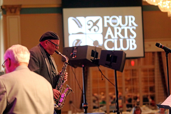 GEOFF LESAR | THE GOSHEN NEWS<br /> <br /> Saxophonist Mike Smith performs during the during the 2018 Elkhart Jazz Festival preview party Monday afternoon in the Crystal Ballroom at The Lerner Theatre in Elkhart.